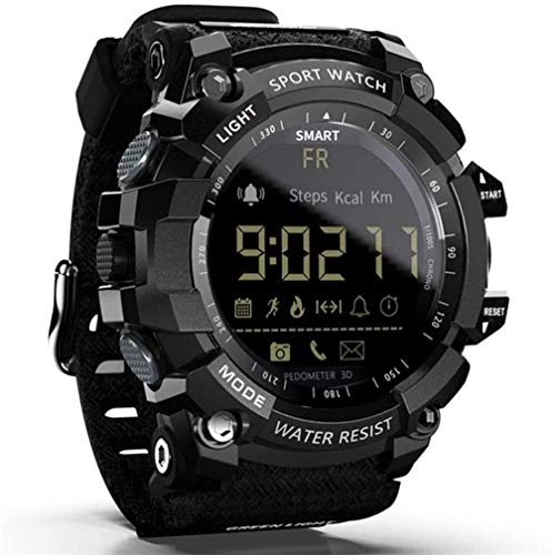 TYUI Reloj inteligente para hombre y mujer, resistente al agua, con podómetro, Bluetooth, análisis de salud, compatible con teléfonos Android e iOS, color negro