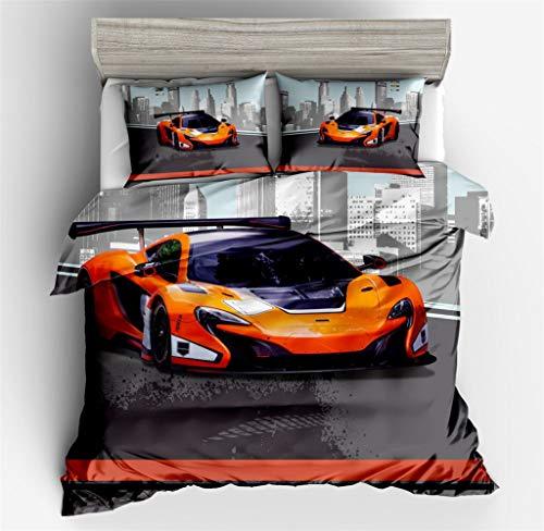 3D Bettbezug Set, DOTBUY 3 Stück Super Weiche Angenehme Mikrofaser Einfache Bettwäsche Set Gemütlich Enthalten Bettbezug Kissenbezug Betten Schlafzimmer (140x200cm,Orange Rennwagen)