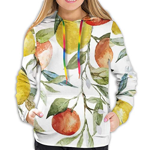 Women's Hoodies Tops,Lemon and Orange Clementine Tree Branches Fruit Yummy Winter Season Vitamin Design,Lady Fashion Casual Sweatshirt,XL
