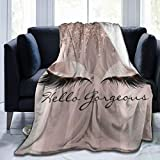 VAMIX Home Decor Warm Fleece Blanket,Spark Rose Gold Drips Makeup Lashes Hello Gorgeous,Ultra-Soft Flannel Throw Blanket for Couch Bed Bedroom 60'X 50'