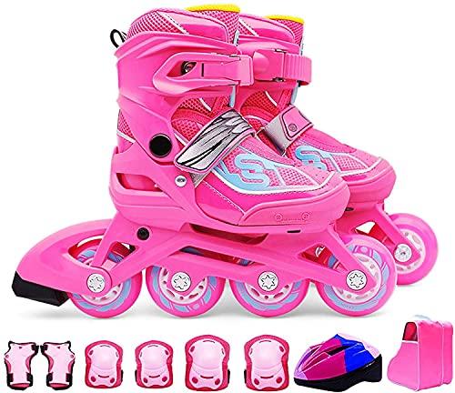 Patines patines al aire libre ajustable patines en línea, patines deportivos para niños y niños con todas las ruedas iluminadoras, patines en línea para niños seguros y duraderos, interiores y exterio