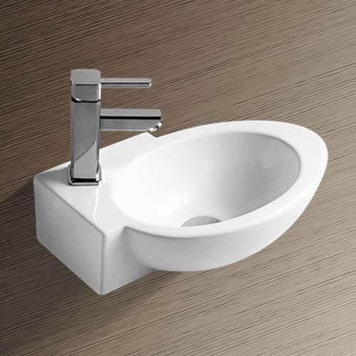 NEG Waschbecken Uno02H (klein/oval/Armatur links) Hänge-Waschschale (weiß) mit Nano-Beschichtung