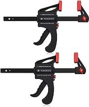 Navaris Set de 2x sargentos de barra - 2 Abrazaderas de carril para apriete interior y exterior - Herramienta de carpintero - 2x de 15CM