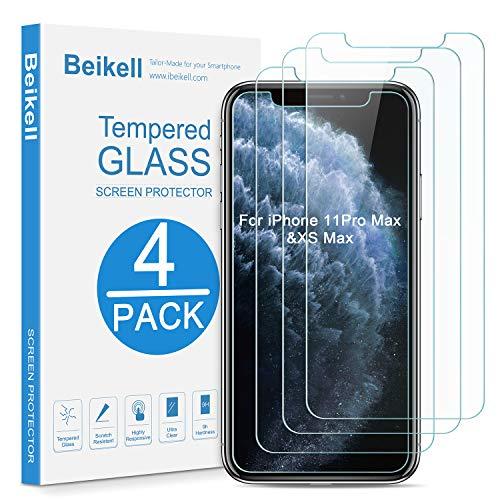 Beikell [4 Stück] Schutzfolie Kompatibel mit iPhone XS Max [6,5 Zoll], Bildschirmschutzfolie mit Installationsanleitung, 9H Festigkeit, Hüllenfre&lich, Blasenfrei, Kratzfest