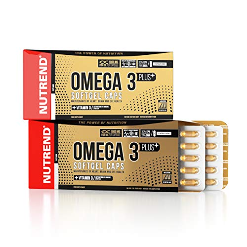 Nutrend OMEGA 3 SOFTGEL PLUS VITAMIN D 120 Caps 1000mg 30% EPA 21% DHA first-class form of fish oil improving heart and brain functions