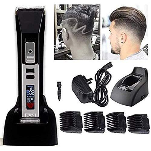 XINGBINGLE Hair Clippers Pantalla LED IPX7 Cortapelos A Prueba De Agua Cortapelos Recargables E Inalámbricos Con Base De Carga Cuchilla De Acero Al Carbono Ajustable Cortapelos Profesionales for Hombr