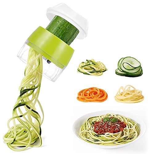 Cortador de Verdura 4 en 1 Rallador de Verduras Calabacin Pasta Espiralizador Vegetal Veggetti Slicer, Calabacin Pasta,Cortador en Espiral Manual,adecuado para Zanahorias,Pepinos,etc