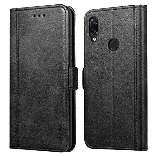 TesRank Funda Xiaomi Redmi Note 7/ Note 7 Pro, Premium PU Piel Flip Wallet Carcasa [Ranuras para Tarjetas] [Pata de Cabra] Cierre Magnético Cuero Funda Movil para Xiaomi Redmi Note 7-Negro