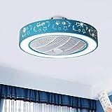 LAKIQ 20.5'' Drum LED Ceiling Fan Light 7 Blades Kid's Bedroom Modern Acrylic Flush Mount Ceiling Lights 3-color Dimmable 3-Speed Adjustable for Kid's Room Boy's Girl's Room(Blue)