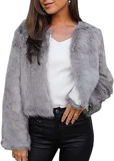 Womens Faux Fur Jacket Open Front Shaggy Long Sleeve Fashion Warm Outwear Coat