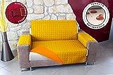 Banzaii Copridivano Trapuntato Tinta Unita Impermeabile antimacchia Bicolore Imbottito 3 Posti Giallo/Arancio Seduta da 170 a 195 cm