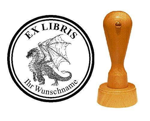 EX LIBRIS EXLIBRIS Stempel « DRACHE 05 » Durchmesser ca. Ø 40 mm - mit persönlichem Wunschnamen und Motiv