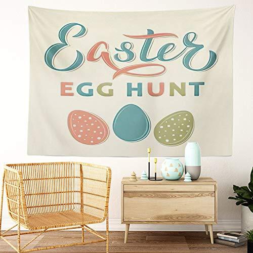 Y·JIANG He Is Risen Tapestry, letras de caza de huevos de Pascua en estilo vintage, tapiz decorativo grande de pared, manta para colgar en la sala de estar, dormitorio, 60 x 50 pulgadas