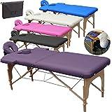 Beltom Camilla de Masaje 2 Zonas portatil Mesa Cama Banco Plegable Reiki Fsioterapeuta - Purpura