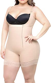 Plus Size Women Shapewear Adjustable Lace Body Shaper Butt Lifter Underbust Postpartum Girdles Compression Bodysuit