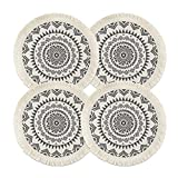 Sungea Mandala Round Placemats Set of 4, Boho Cotton Woven Macrame Tassels Table Mats Washable Heat Resistant Neutral Place Mat for Dining Room Kitchen Table Decor (13 Inches, Dark Grey)