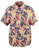 Tommy Bahama Hibiscus Sunset Silk Camp Shirt (Color: Dockside Blue, Size L)