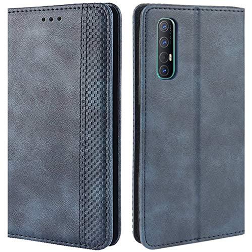 HualuBro Handyhülle für Oppo Find X2 Neo Hülle, Retro Leder Stoßfest Klapphülle Schutzhülle Handytasche LederHülle Flip Hülle Cover für Oppo Find X2 Neo Tasche, Blau