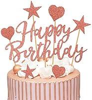 Humairc 2 Sets Rose Gold Cake Topper Gelukkige Verjaardag Cake Decoratie voor Meisjes Vrouwen Kids Glanzend Rose Goud...