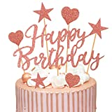 Humairc 2 Sets Rose Gold Cake Topper Happy Birthday Cake Decoration for Girls Women Kids Shiny Rose Gold Birthday Party Anniversary Wedding Cake Topper 22pcs (Rose gold cake decoration)