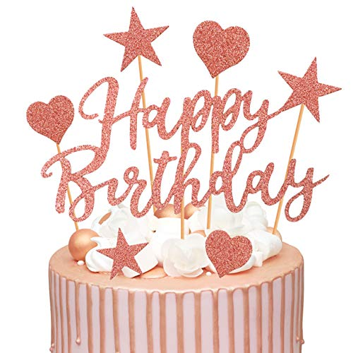 Humairc Tortendeko Rosegold 2 Pack Geburstagstorte Deko Happy Birthday Girlande Herze Sternen Cake-Topper Kuchen Aufsätze für Mädchen Frauen (Rosegold)
