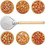 Pala Para Pizza De Acero Inoxidable, Pala Para Pizza Perforada, Para Girar Pizza, Paleta PequeñA Para Pelar Pizza, Mango De Madera, Mango De Madera Desmontable (8 inches)