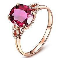 女性のための優雅なデザインのピンクトルマリン婚約ダイヤモンド14Kソリッドローズゴールドリングウェディング