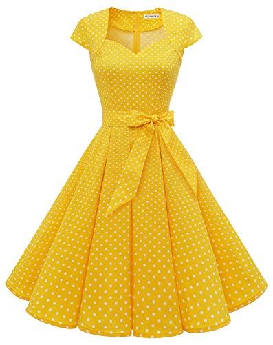 MuaDress Vestido vintage Rockabilly de cóctel años 50, estilo retro, vestido plisado y acampanado en la rodilla, cuello en forma de corazón D-jaune À Pois Blanc A S