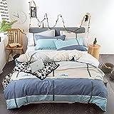 ZHHk Bettbezug Cotton Simple Active Druck- und Färbeset Bedroom Bedding 4-teiliger Kissenbezug * 2...