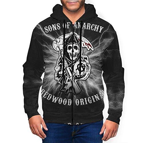 huatongxin Sons-of-Anarchy-Logo Beleuchtung Herren Hoodie Full Zip Sweater Pullover Sweatshirt Shirts Jacke