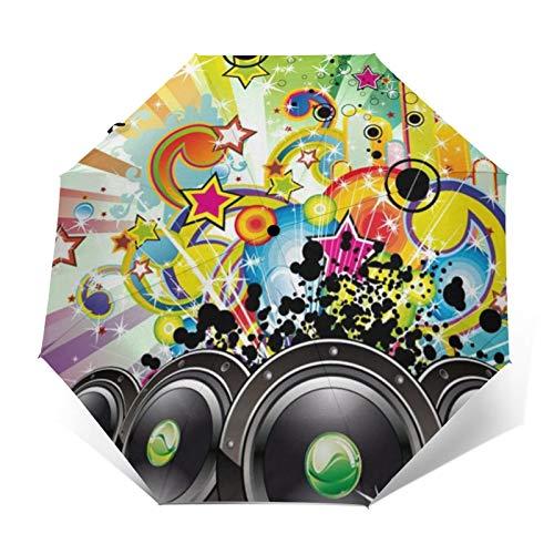 DOWNN Paraguas automático de triple pliegue con impresión exterior 3D, diseño de estrellas, arco iris, resistente al viento, duradero, plegable, unisex, para hombre y mujer al aire libre
