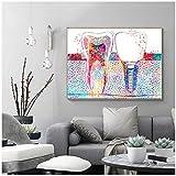 Cartel colorido del arte dental Implante dental Pintura de la lona Odontología Higienista Impresión del arte de la pared dental Imagen del diente Decoración de la clínica -60x80cm Sin marco