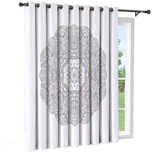 Zentangle Living Room Sliding Door Curtain Hand Drawn Medallion Motif Chaotic and Artistic Tangled Ornaments Office Single Panel W84 x L96 Inch Charcoal Grey White