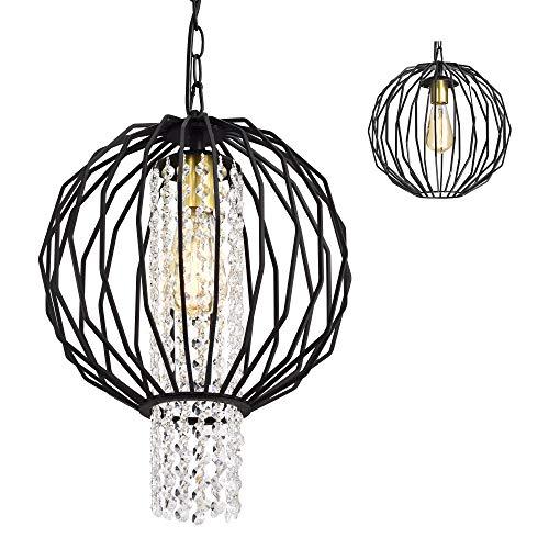 LaLuLa Small Black Modern Crystal 1-Light Orb Chandelier Hanging Ceiling Globe Sphere Light Fixture