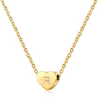 Tiny Heart Initial Necklace for Girls Gold Letter Alphabet Necklace A-Z Jewelry Gifts for Women
