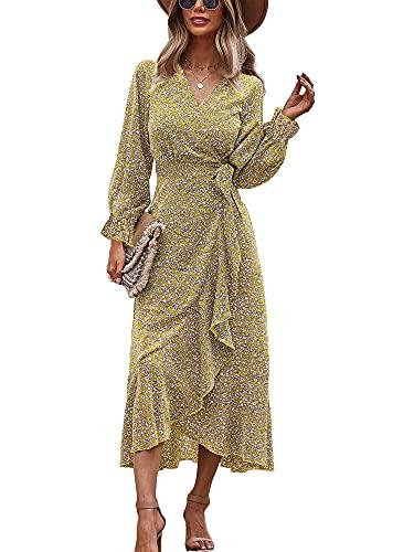 Ajpguot Damen Boho Lange Kleider Elegant V-Ausschnitt Partykleid Sommerkleider Langarm Wickelkleid Abendkleider Blumendruck Maxikleid...