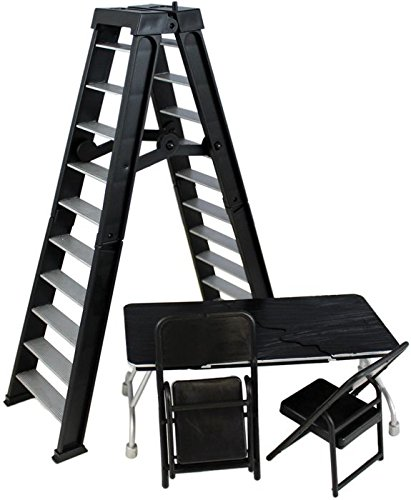 Wrestling Black Set of table, ladder and 2 chairs for Action Figures Mattel WWE