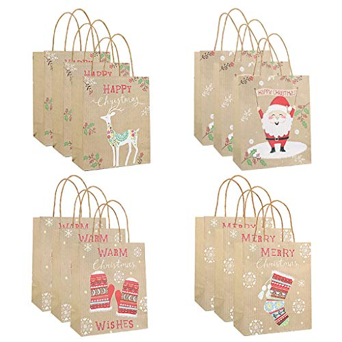 CMOM Weihnachten Kinder, Bag Paper Bag Packaging Kraft Paper Bottom Tote Bag 12pcs Weihnachtsbaum Tischdekoration Fensterbilder Basteln Weihnachten Basteln Kinder