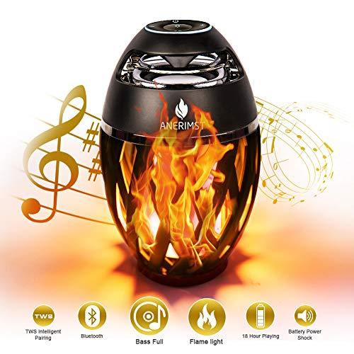 ANERIMST LED-Bluetooth-Lautsprecher, Flame Ambience Lantern-Außenlautsprecher mit Stereoklang, tragbarer drahtloser Lautsprecher, exklusiver BassUp, Tischlampe für iPhone Android (Gelb)