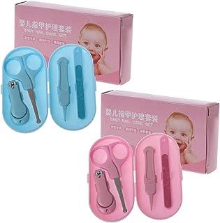 MIsha Kit cuidado de uñas para bebé portátil, Herramienta de cuidado de uñas de bebé de 4 piezas
