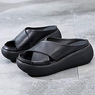 كعب عالٍ - صنادل نسائية من الجلد الناعم أحذية الأوتاد للنساء صنادل الصيف الشاطئ صنادل صنادل كعب الصنادل (سوداء 36)
