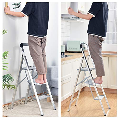 TOOLF 3 Step Ladder, Aluminum Lightweight Folding Step Stool with Utility Handle,3 Anti-Slip Steps,Wide Platform,Great for Your Kitchen, Pantry, Closets, or Home Office,Modern Stool, Indoor (Silver)