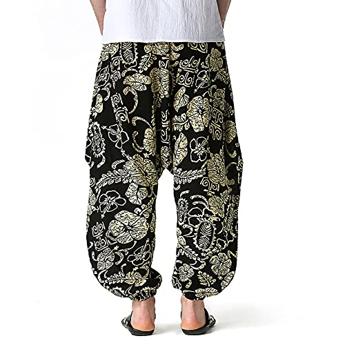 Men's Cotton Harem Yoga Baggy Genie Boho Pants Cotton Pockets Harem Pants Yoga Pajama Ethnic Trouser Hippie Pants Gold