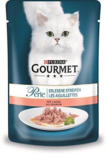 PURINA GOURMET Perle Erlesene Streifen Katzenfutter nass, mit Lachs, 24er Pack (24 x 85g)
