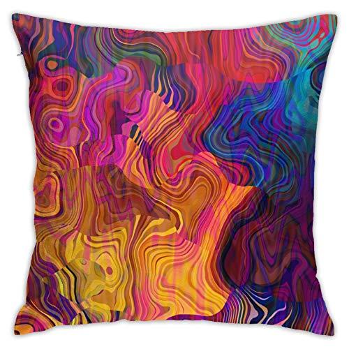 ETHAICO Fundas de almohada, multicolor arco iris con morado, fucsia, rosa, rojo, naranja, azul, dorado, fundas de almohada decorativas con estampado de flores (45,7 x 45,7 cm)