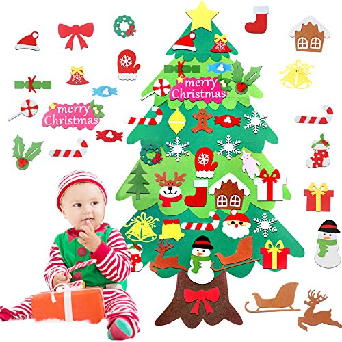 GAYISIC Felt Christmas Tree for Toddler Kids DIY Decorations Wall Hanging with 34 PCS Ornaments Party Supplies Door Decor Xmas New Year Gifts Party Favors