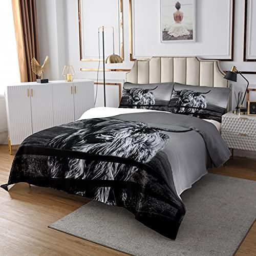 Highland Kuh Tagesdecke 170x210 Größe Grau Bull Rinder Gesteppte Lustige Bauernhaus Wildlife Tier Bettdecke Set Für Kinder Western Cowboy Stil Tagesdecke Quilt Set Erwachsene Schlafzimmer Dekor