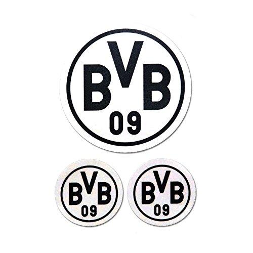Borussia Dortmund BVB Aufkleber in schwarz 3 Stück, Folie, 9 x 9 x 1 cm, 3-Einheiten