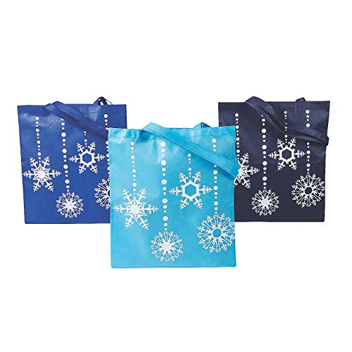 Blue Snowflakes Totes for Christmas - Apparel Accessories - Totes - Novelty Totes - Christmas - 12 Pieces