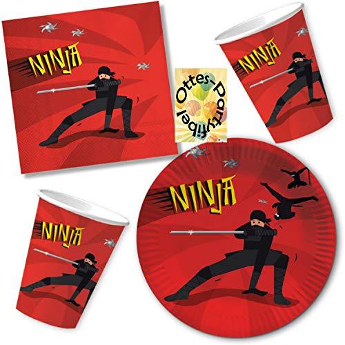 HHO Ninja Party-Set 52tlg. für 16 Gäste : Teller Becher Servietten
